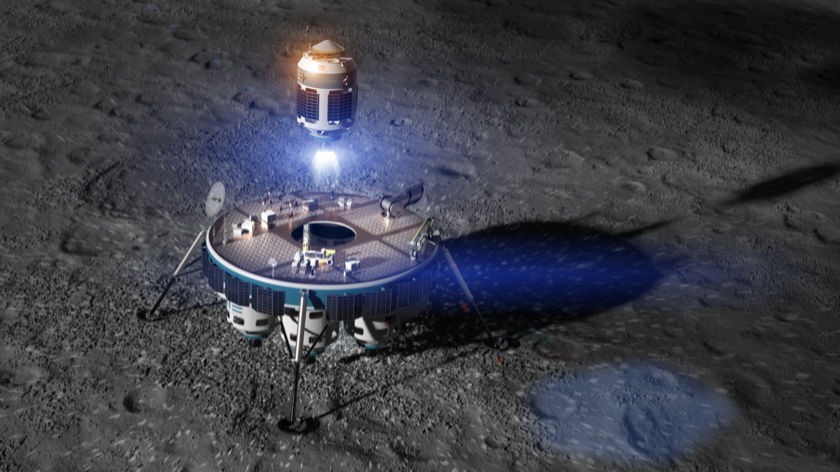 Artist concept of Moon Express MX-9 Sample Return Ascent