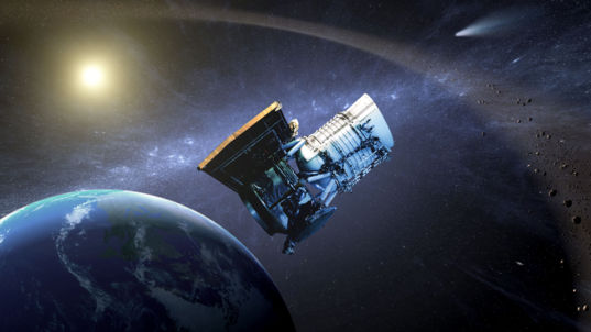 Artist concept of NEOWISE spacecraft in Earth orbit hero