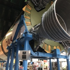 The Saturn V moon rocket on display inside the U.S. Space and Rocket Center