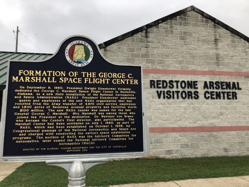 Marshall Space Flight Center historical marker