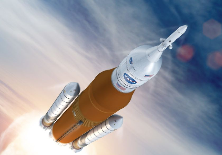 SLS in flight