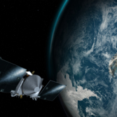 Artist's concept of OSIRIS-REx flying past Earth on September 22, 2017