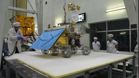 Chang'e-4 rover hardware during assembly