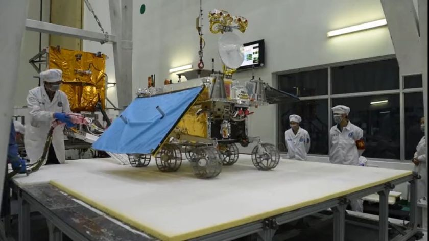 Chang'e-4 rover hardware during assembly (wide view)