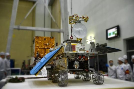 Chang'e-4 rover hardware during assembly (tight view)