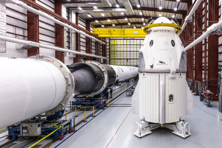 SpaceX Crew Dragon with rocket