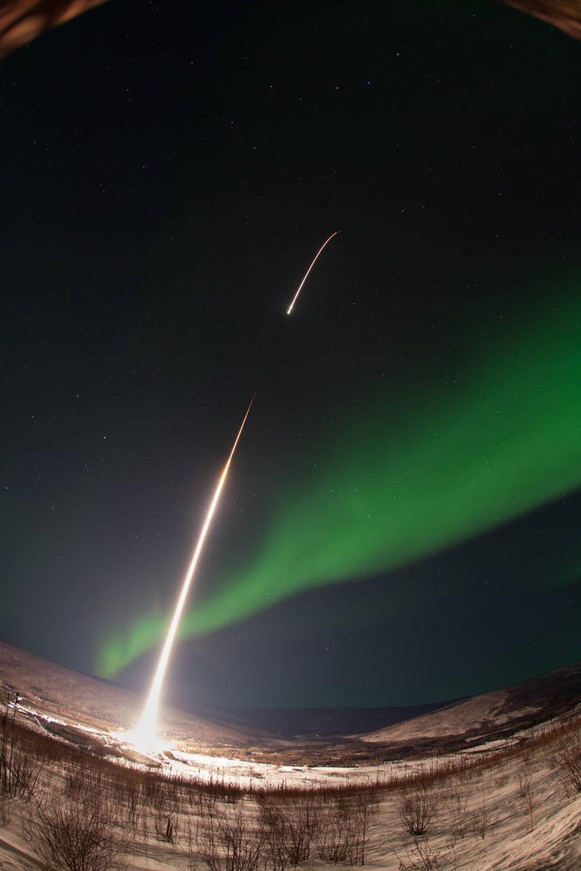 Sounding Rocket Launches Into Aurora