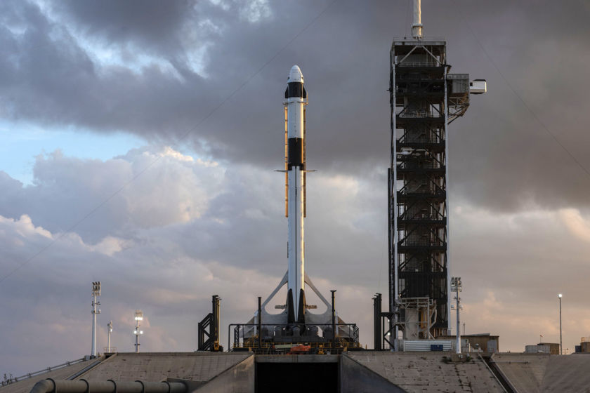SpaceX Crew Dragon on the pad