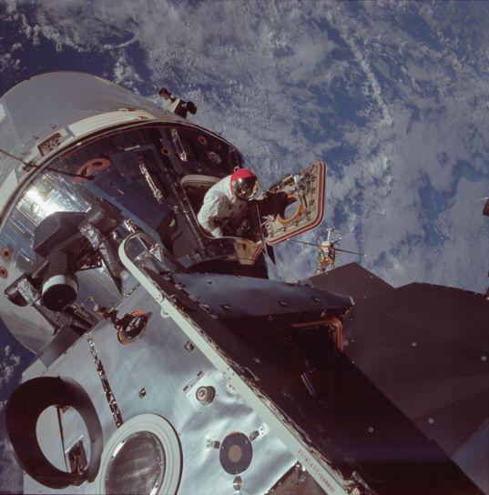 Dave Scott exits the Apollo 9 command module