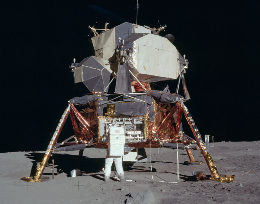 Buzz Aldrin unpacking Lunar Module