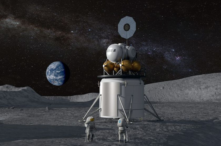 Artist's concept of a moon landing as part of NASA's Project Artemis