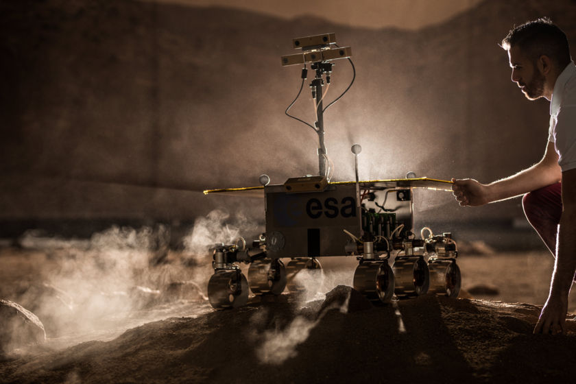 Model of ExoMars Rover at ESA's Rover Operations Control Centre