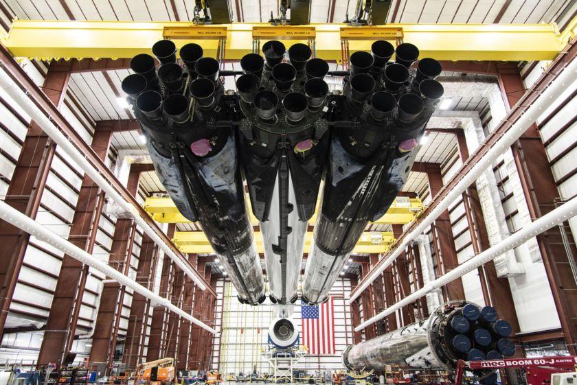 STP-2 Falcon Heavy in hangar