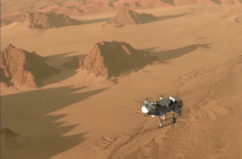 Artist's impression of Dragonfly in flight over Titan