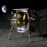 Peregrine lander on analog lunar surface (close up)