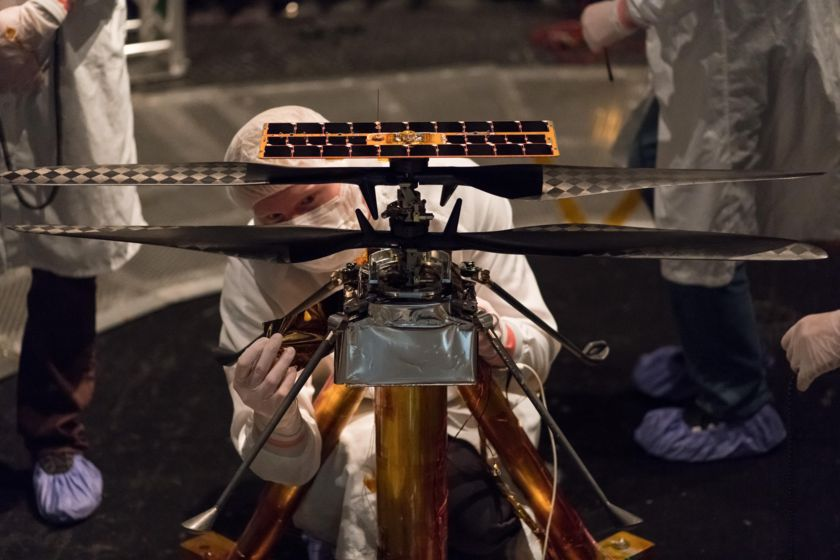 Attaching thermal film to Mars Helicopter