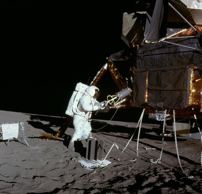 Apollo 12 Astronaut Alan Bean Removes Fuel Cask