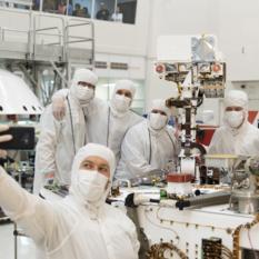 Selfie With Mars 2020 in JPL's High Bay