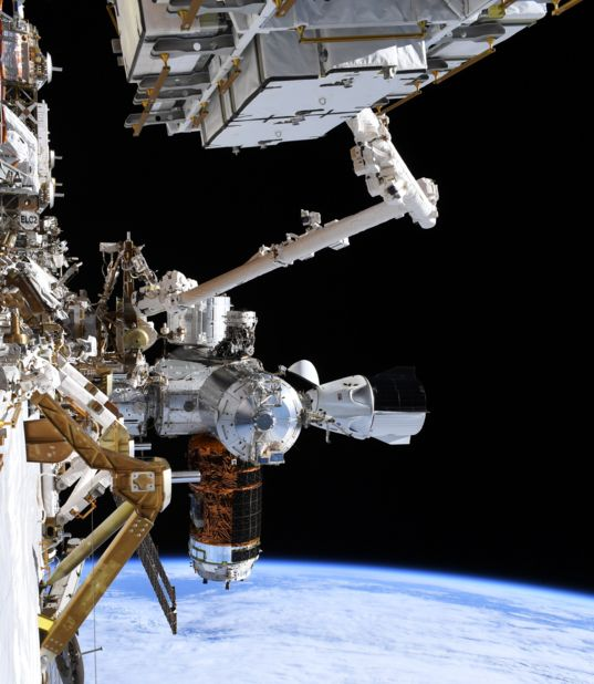 ISS and Demo-2 Crew Dragon During Spacewalk