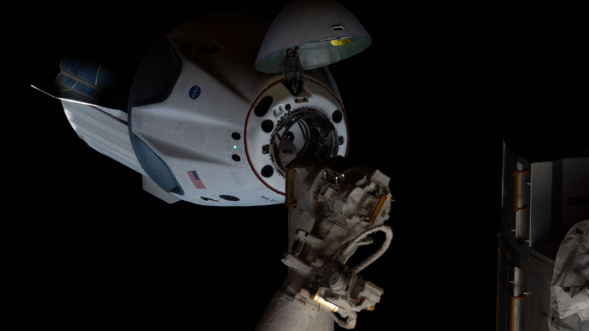 The SpaceX Crew Dragon approaches the International Space Station