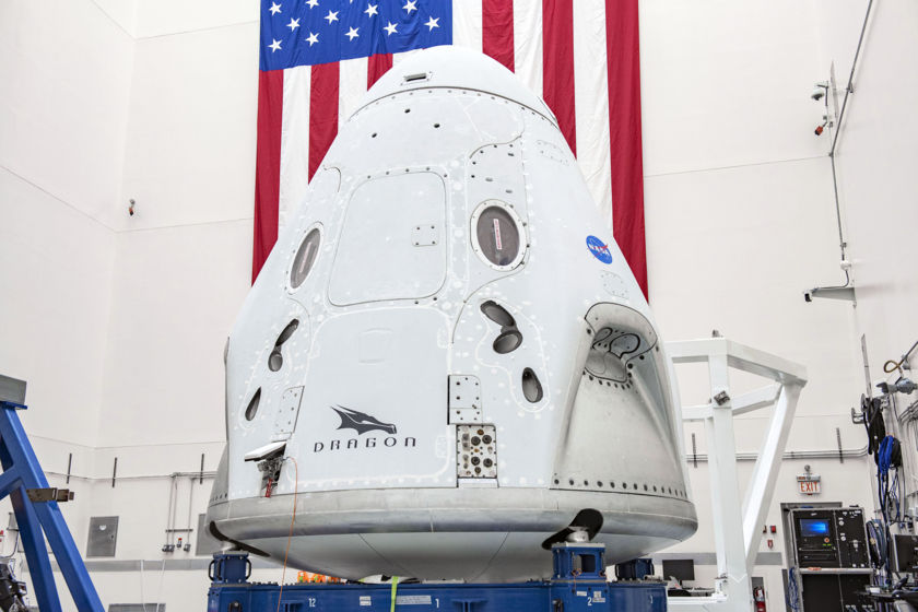 SpaceX Crew Dragon spacecraft at Cape Canaveral Air Force Station