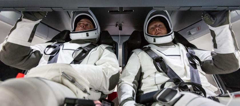 NASA astronauts Doug Hurley and Bob Behnken inside Crew Dragon