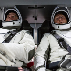 NASA astronauts Doug Hurley and Bob Behnken inside Crew Dragon