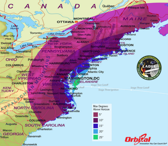 LADEE launch visibility map