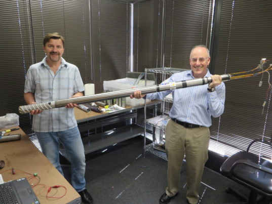 Kris Zacny and Mat Kaplan with the Planetary Deep Drill