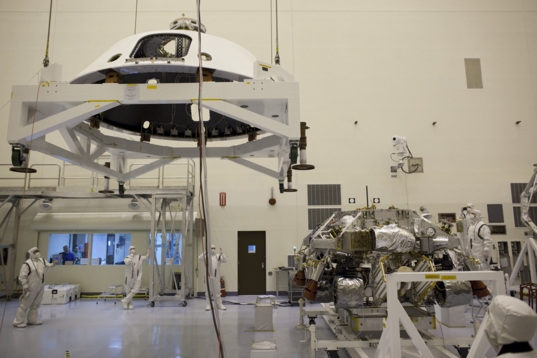 Mounting the backshell onto Curiosity
