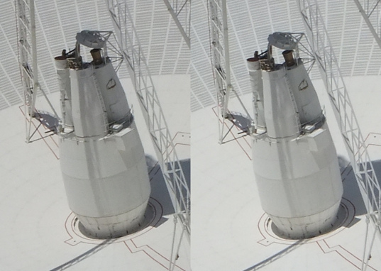 Crossed-eye stereo view of DSS-14's transmitting cones
