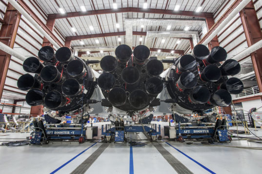 The business end of the Falcon Heavy