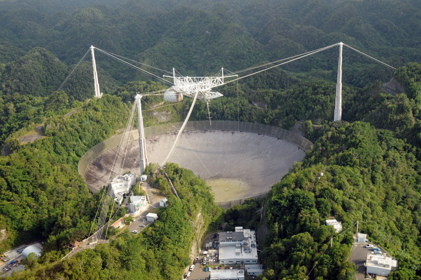 The 1000-ft Arecibo radio telescope