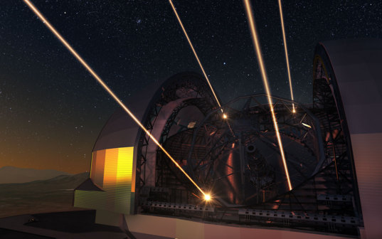 European Extremely Large Telescope deploying lasers for adaptive optics
