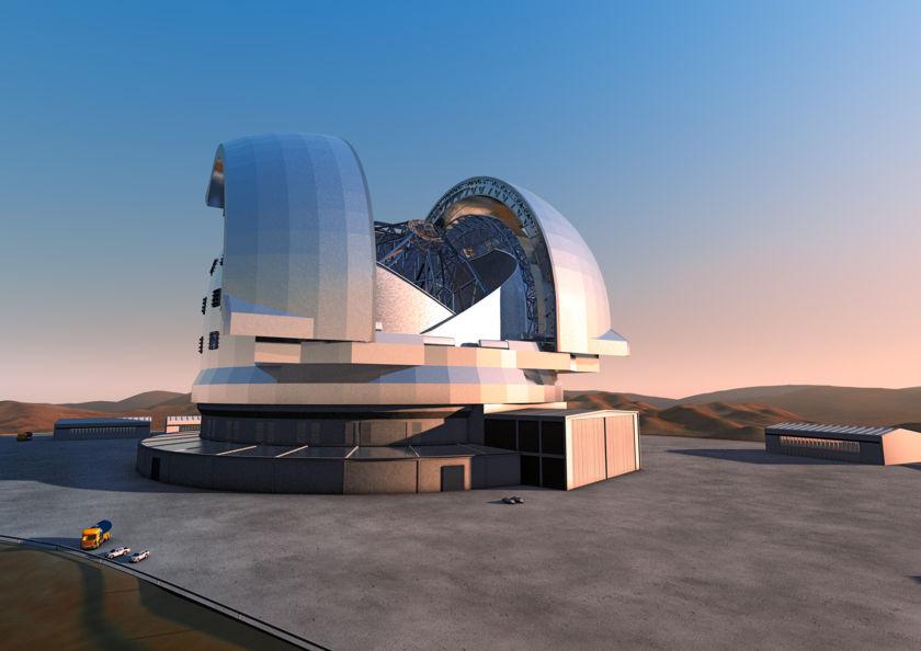 Artist's impression of the European Extremely Large Telescope (E-ELT)