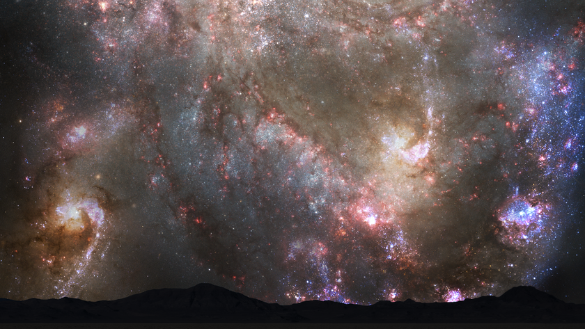 Nighttime Sky View of Future Galaxy Merger: 3.9 Billion Years