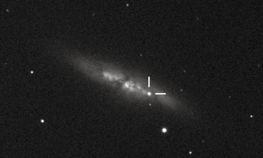 Discovery image of supernova in M82