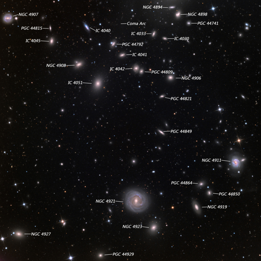 Outskirts of the Coma Cluster (labeled)