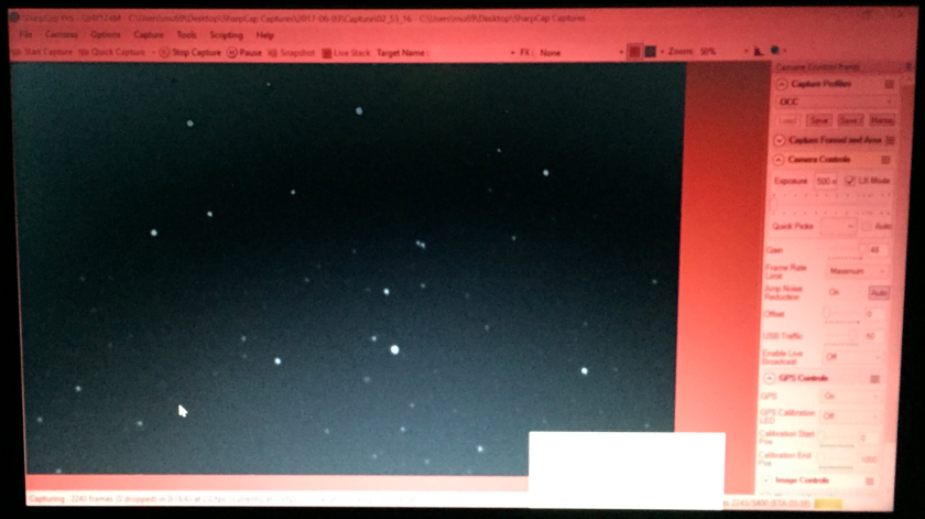 Our view of the star field for the observation