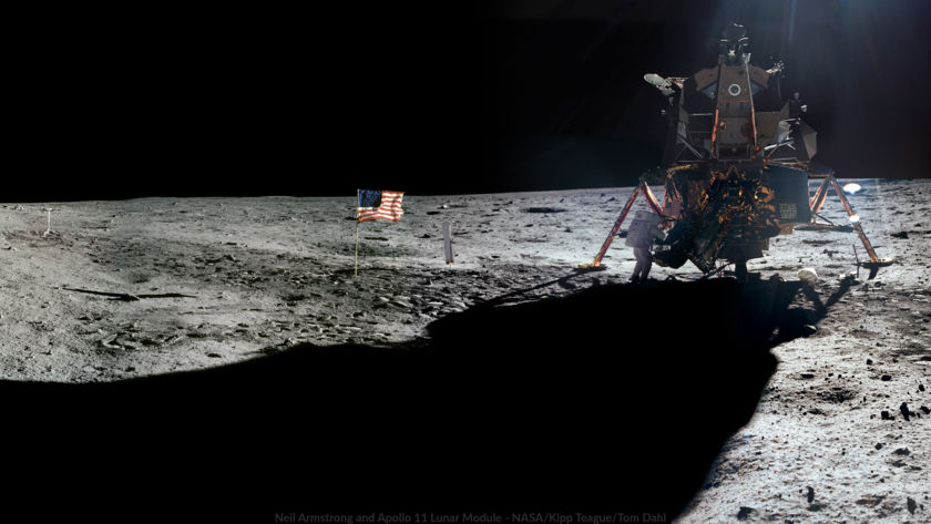 Wallpaper: Neil Armstrong at the Apollo 11 Lunar Module on the Surface of the Moon