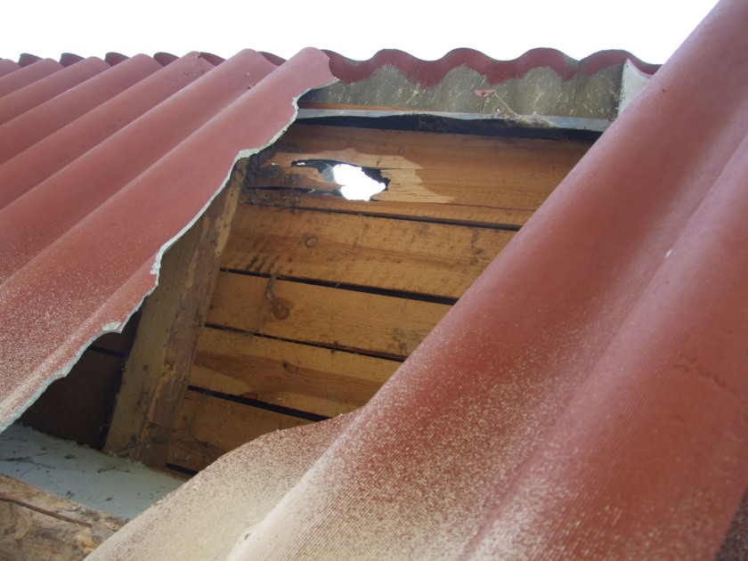 Roof holed by a meteorite