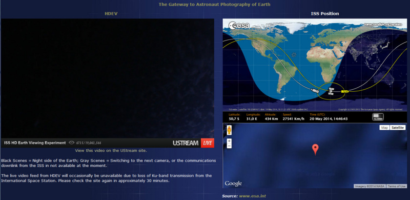 HDEV screen capture of the Gateway to Astronaut Photography of the Earth website HDEV viewer