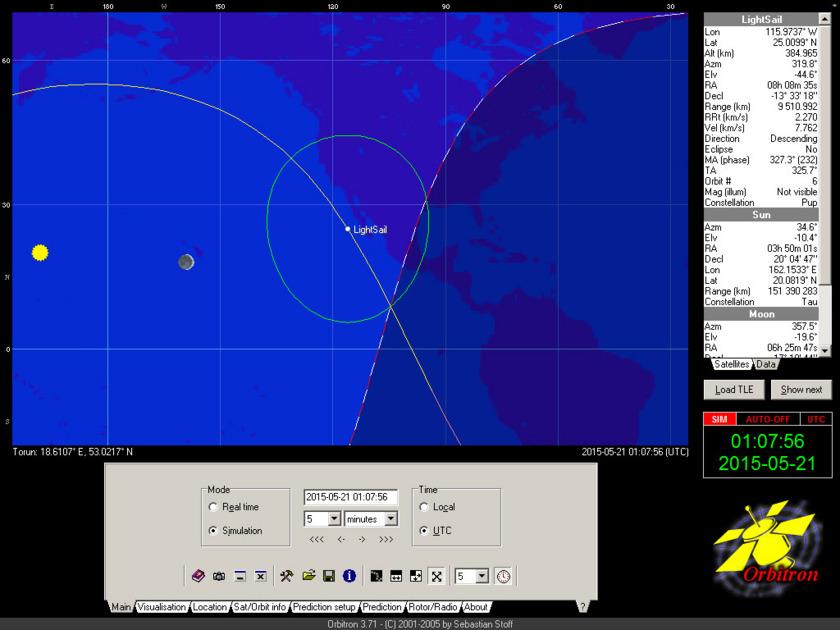 LightSail position, May 21 1:07 UTC