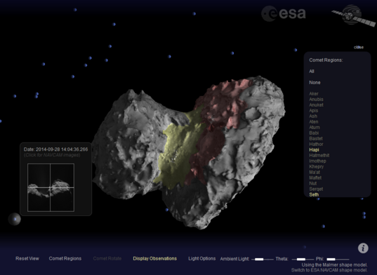 Screen cap from ESA's Comet Viewer