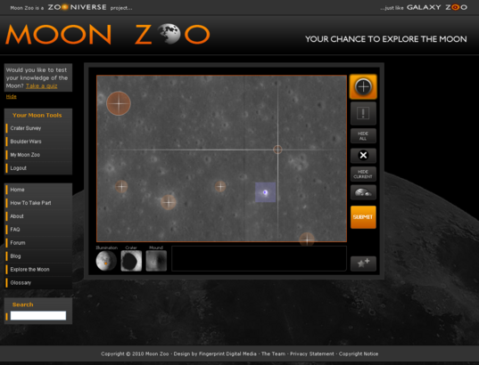 Moon Zoo crater counting interface screen grab