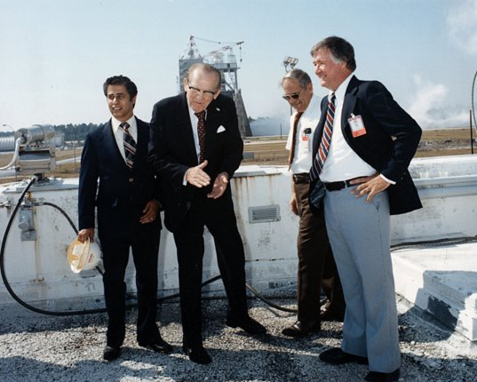 Senator Stennis celebrates a successful engine test