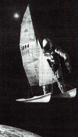An astronaut sails above Earth on a catamaran