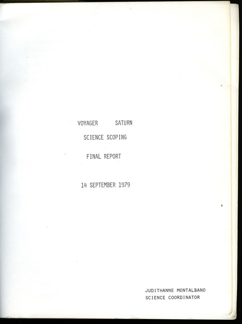 Voyager Saturn Science Scoping Final Report (1979)