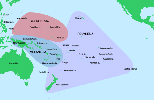 The Polynesian triangle, with Melanesia and Micronesia