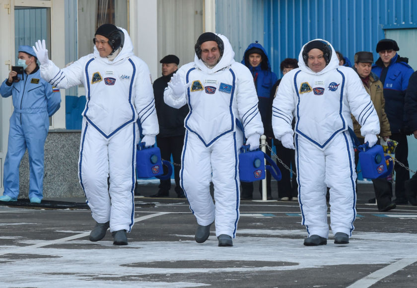 Expedition 54 crew in polar bear suits